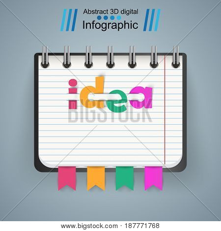 Notepad, notebok icon with numbet on the grey background