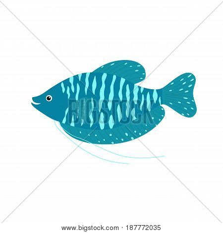 Dwarf Gourami Trichogaster lalius, hand drawn doodle, sketch in pop art style, vector color illustration