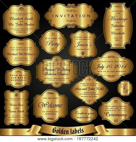 Vector set of golden labels in retro style