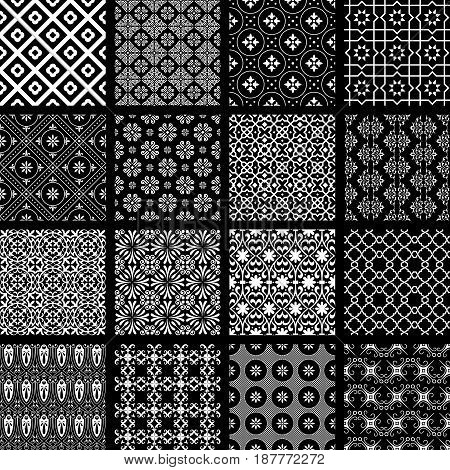 Vector set of monochrome retro seamless patterns