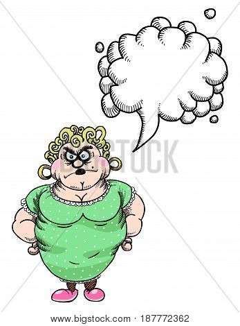Cartoon image of annoyed woman. An artistic freehand picture. With speech bubble.