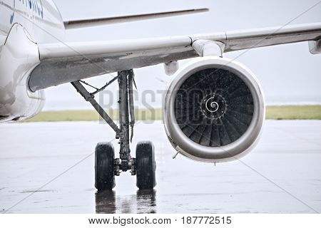 front view biof g jet plane turbine reactor in an airport