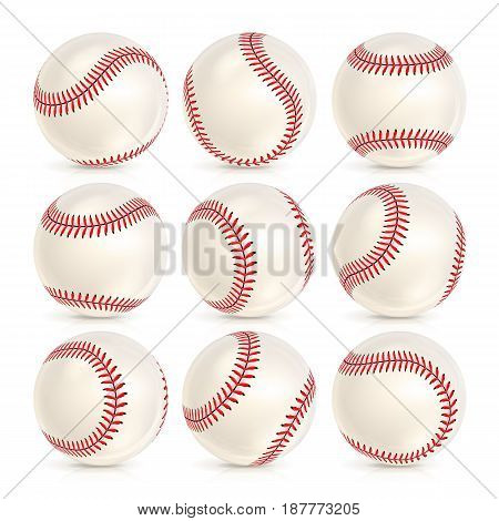 Baseball Leather Ball Isolated On White. SoftBall Base Ball. Shiny