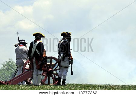 MOUNT VERNON - July 4: An old cannon and rifles are fired to mark Independence Day in Mount Vernon, on July 4, 2009. Mount Vernon is George Washington's former home and a popular tourist attraction.