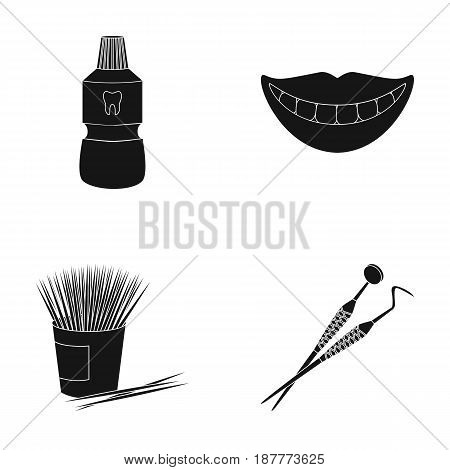 Dental sterile liquid in the jar, lips, teeth, toothpicks in the jar, medical instruments for the dentist. Dental care set collection icons in black style vector symbol stock illustration .