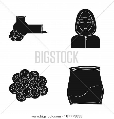 Vong, drug addict, package with marijuana, ecstasy. Drugs set collection icons in black style vector symbol stock illustration .