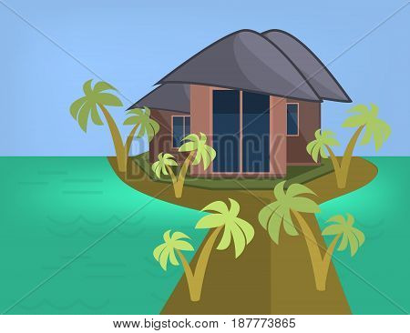 Sea Side Summer Landscape With House and Palm trees in Flat Design. Vector Illustration.
