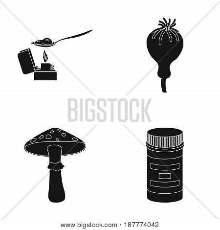 Heroin in a spoon, mushroom galyutsinogenny, opium poppy, tablets. Drugs set collection icons in black style vector symbol stock illustration .