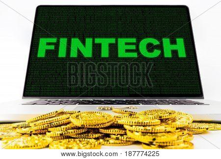 Getting rich using Fintech on computer screen concept