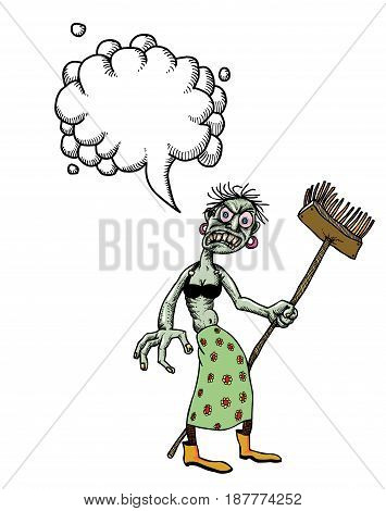 Cartoon image of undead monster lady cleaning. An artistic freehand picture. With speech bubble.