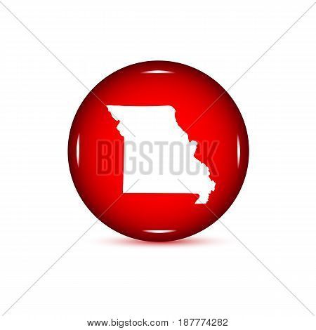 Map of the U.S. state of Missouri. Red button on a white background.