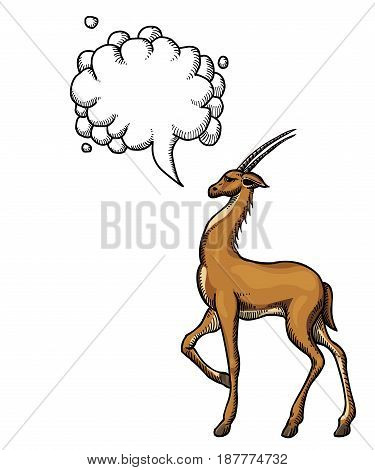 Cartoon image of antelope. An artistic freehand picture. With speech bubble.