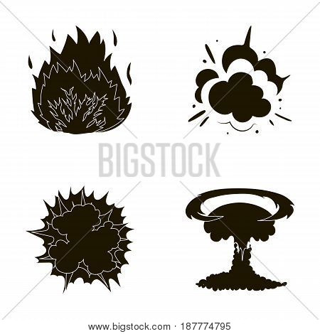 Flame, sparks, hydrogen fragments, atomic or gas explosion. Explosions set collection icons in black style vector symbol stock illustration .