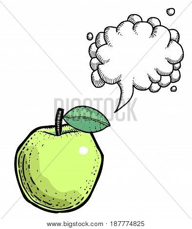 Cartoon image of apple. An artistic freehand picture. With speech bubble.