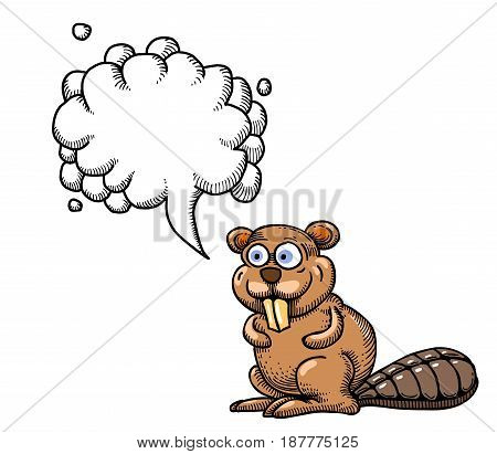 Cartoon image of beaver. An artistic freehand picture. With speech bubble.