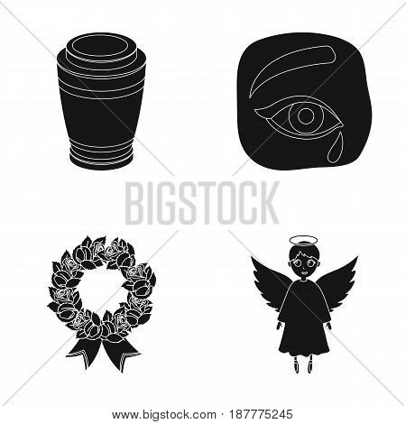 The urn with the ashes of the deceased, the tears of sorrow for the deceased at the funeral, the mourning wreath, the angel of death. Funeral ceremony set collection icons in black style vector symbol stock illustration .