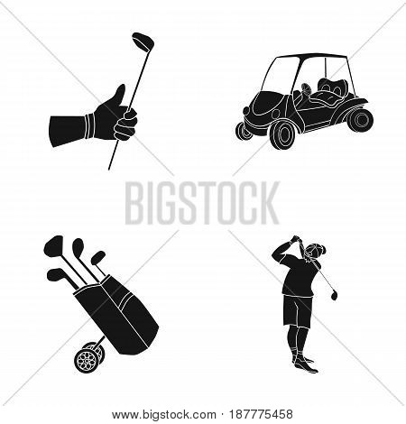 A gloved hand with a stick, a golf cart, a trolley bag with sticks in a bag, a man hammering with a stick. Golf Club set collection icons in black style vector symbol stock illustration .