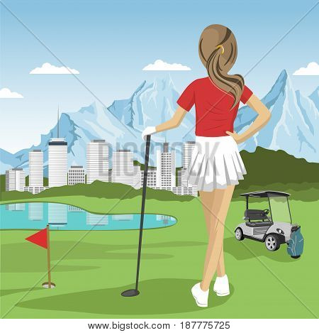 Young golfer girl standing with a golf club looking at lake, city and mountains. Rear view