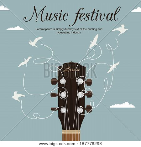Guitar neck with strings turn into white birds in the sky. Music festival flyer