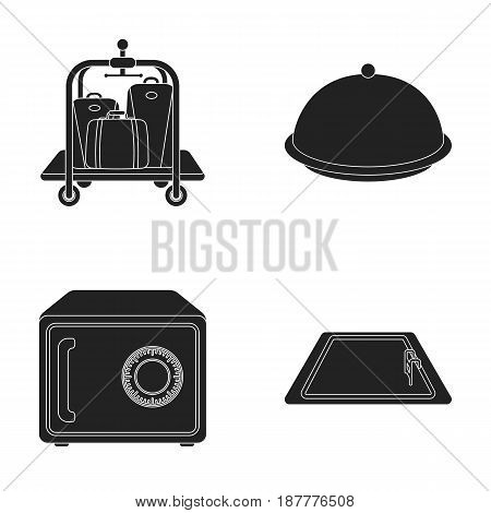 Trolley with luggage, safe, swimming pool, clutch.Hotel set collection icons in black style vector symbol stock illustration .