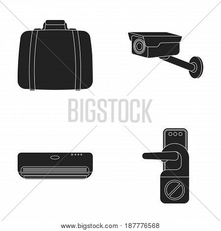 Luggage, surveillance camera, air conditioning, do not disturb the sign.Hotel set collection icons in black style vector symbol stock illustration .