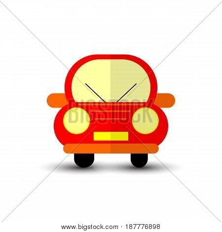 Funny Red Car Isolated on White Bacground. Vector Illustration