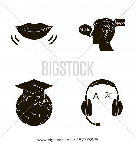 The mouth of the person speaking, the person's head translating the text, the globe with the master's cap, the headphones with the translation. Interpreter and translator set collection icons in black style vector symbol stock illustration .