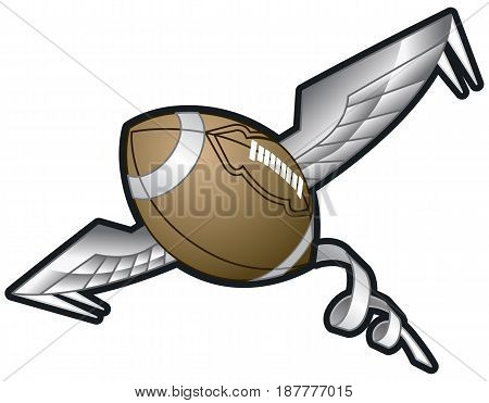 Vector cartoon clip art illustration of a Spiraling Football with Wings flying through the air.