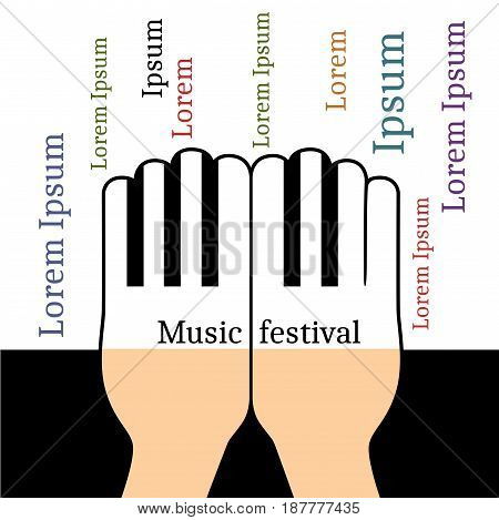 Hands in the form piano keys with copyspace for text. Flat illustration