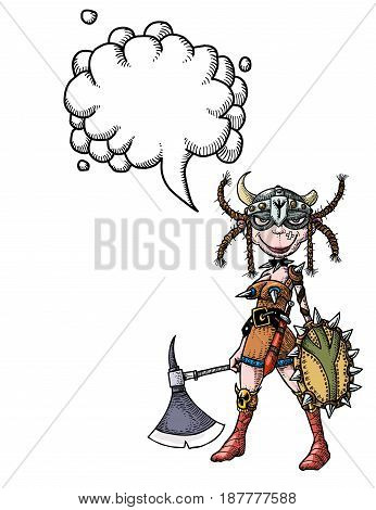 Cartoon image of female viking. An artistic freehand picture. With speech bubble.