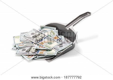 Pile of dollars on a plastic garbage scoop isolated on a white background