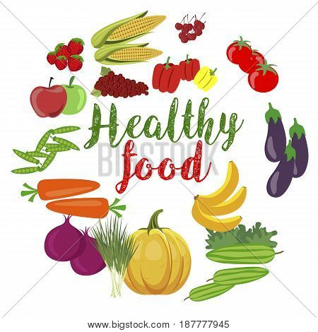 Fresh organic vegetables and fruits with healty food text over white background