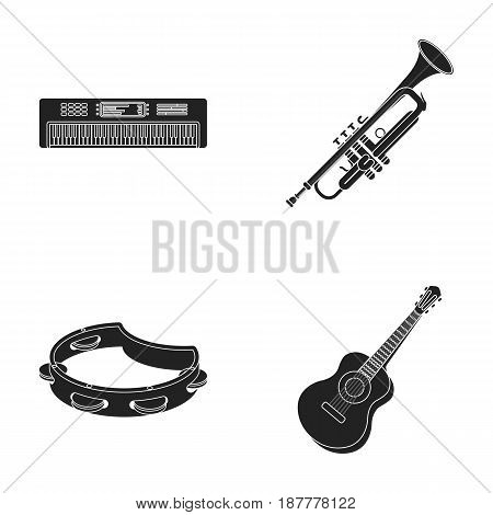 Electro organ, trumpet, tambourine, string guitar. Musical instruments set collection icons in black style vector symbol stock illustration .