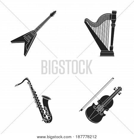 Electric guitar, loudspeaker, harp, saxophone, violin.Music instruments set collection icons in black style vector symbol stock illustration .