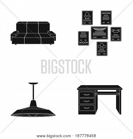 Comfortable sofa, letters and diplomas within the framework, an office ceiling lamp, a desk with drawers. Office Furniture set collection icons in black style vector symbol stock illustration .