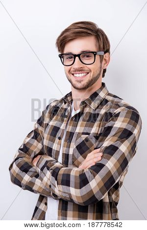 Successful Young Bearded Handsome Student Is Smiling. He Is In A Casual Outfit On Pure Background Wi
