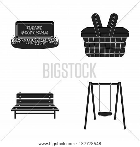 Lawn with a sign, a basket with food, a bench, a swing. Park set collection icons in black style vector symbol stock illustration .