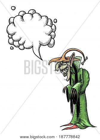 Cartoon image of laughing witch. An artistic freehand picture. With speech bubble.