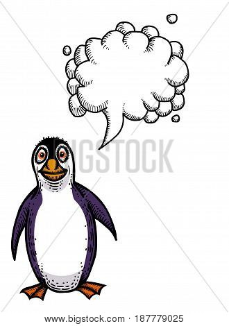 Cartoon image of penguin. An artistic freehand picture. With speech bubble.