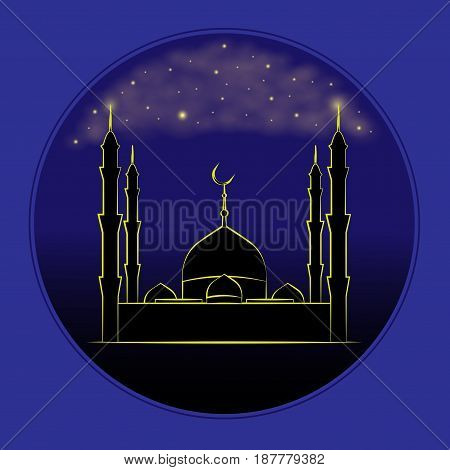 Vector Illustration Of Ramadan Kareem. Mosque under a starlit sky.