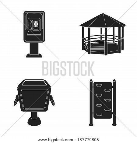 Telephone automatic, gazebo, garbage can, wall for children. Park set collection icons in black style vector symbol stock illustration .