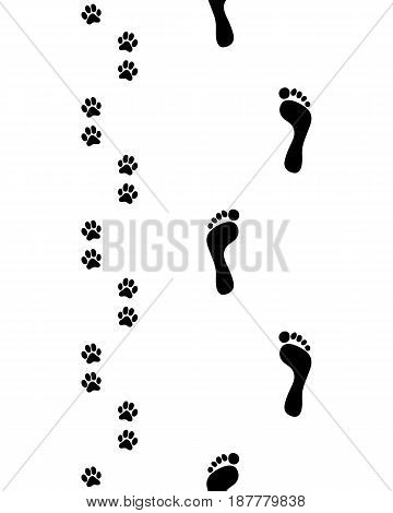 Prints of human feet and dog paws, seamless