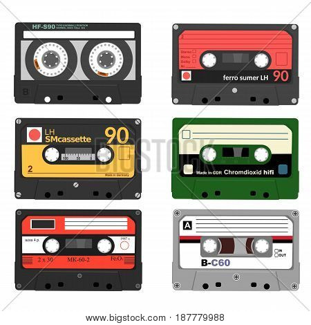 Set of retro audio cassettes. Tape and audio, music and sound, media and record over white background