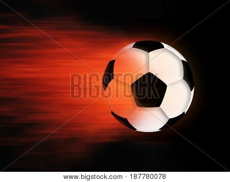 Soccer ball and flame on a black background