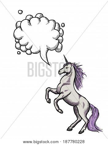 Cartoon image of unicorn. An artistic freehand picture. With speech bubble.