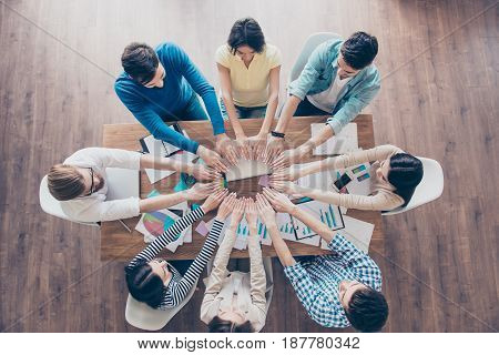All For One! And One For All! Top Up Of Colleagues Putting Their Hands Next To Each Other In A Circl
