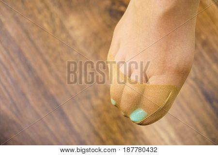Detailed Closeup Of Woman Feet Wearing Pantyhose Tights