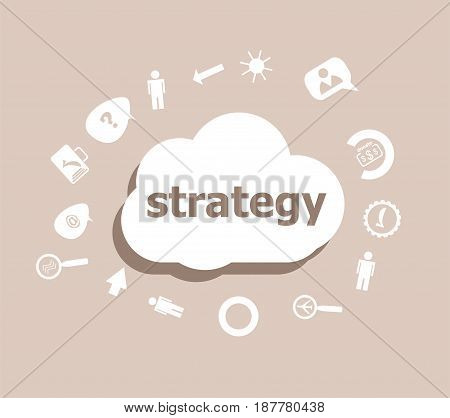 Text Strategy. Finance Concept . Icons Set For Cloud Computing For Web And App
