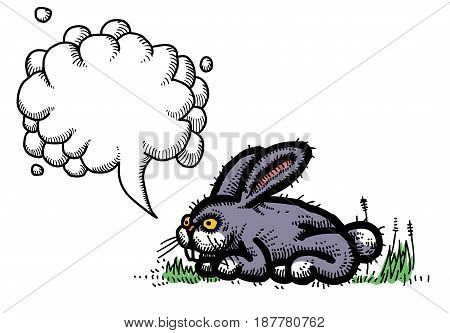 Cartoon image of rabbit. An artistic freehand picture. With speech bubble