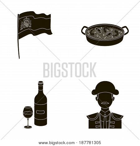 Flag with the coat of arms of Spain, a national dish with rice and tomatoes, a bottle of wine with a glass, a bullfighter, a matador. Spain country set collection icons in black style vector symbol stock illustration .